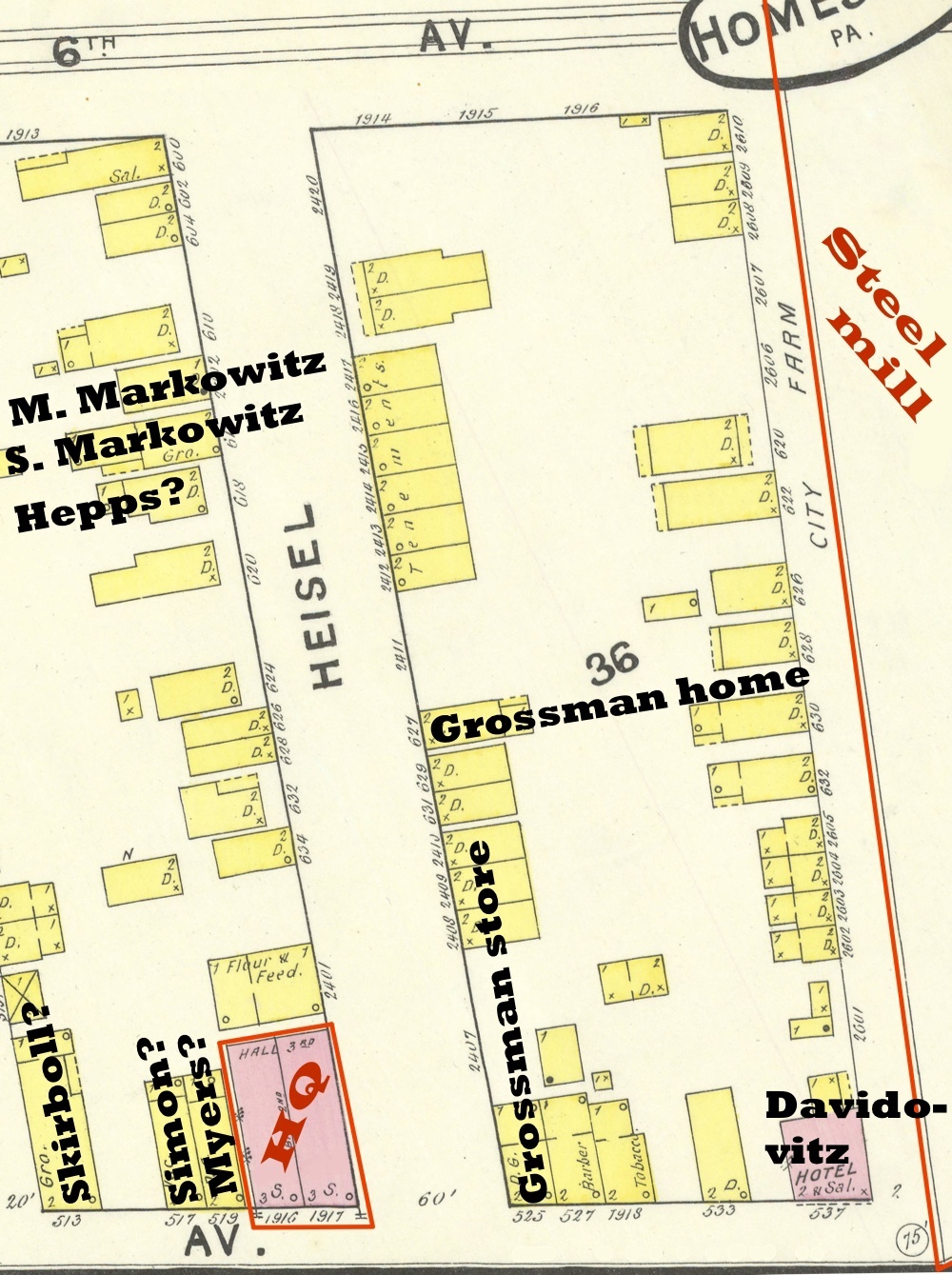 Map showing the Jews of Homestead in proximity to the headquarters of the strikers