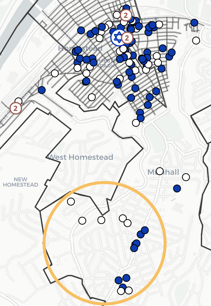 Homestead's Jewish households in 1945, color-coded by synagogue membership